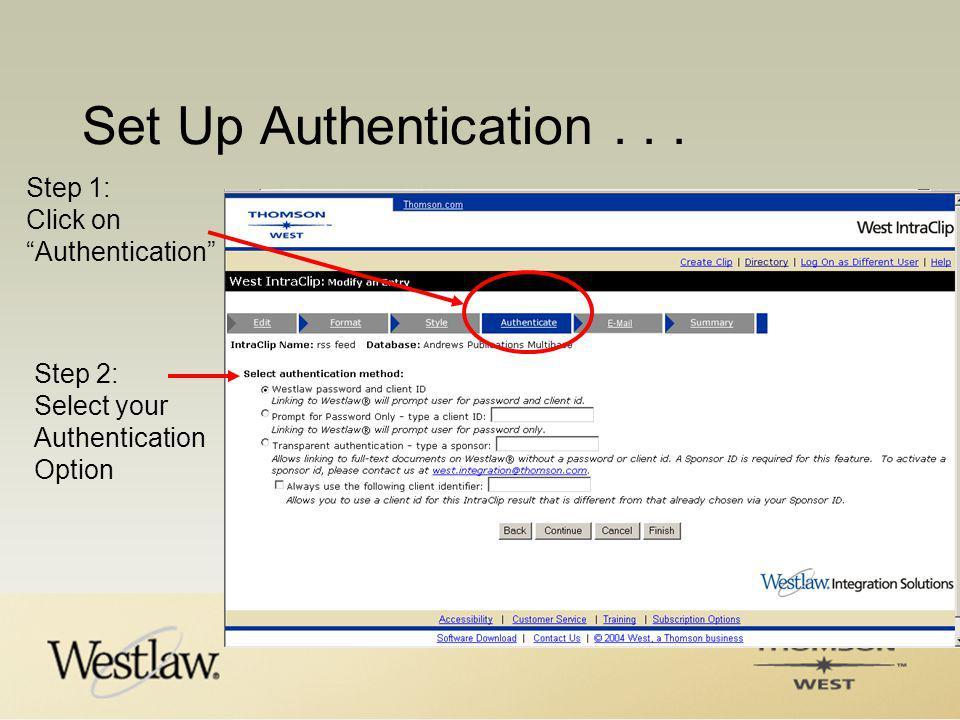 Set Up Authentication...