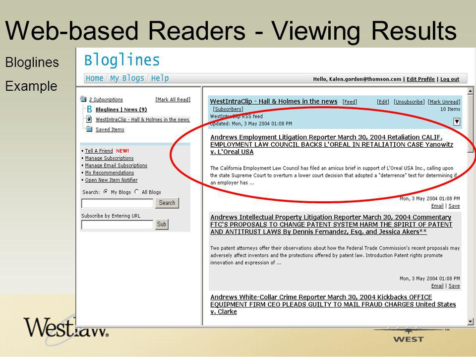 Bloglines Example Web-based Readers - Viewing Results