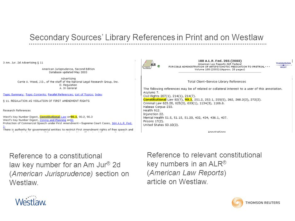 Secondary Sources' Library References in Print and on Westlaw Reference to a constitutional law key number for an Am Jur ® 2d (American Jurisprudence) section on Westlaw.