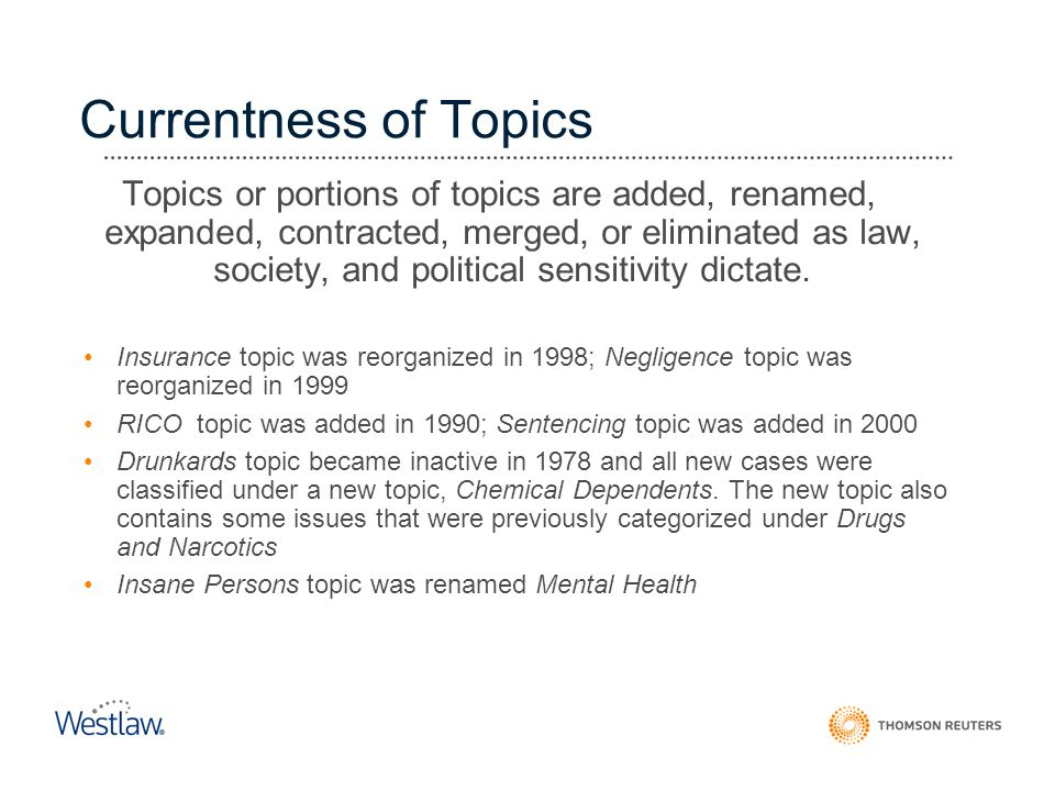 Currentness of Topics Topics or portions of topics are added, renamed, expanded, contracted, merged, or eliminated as law, society, and political sens
