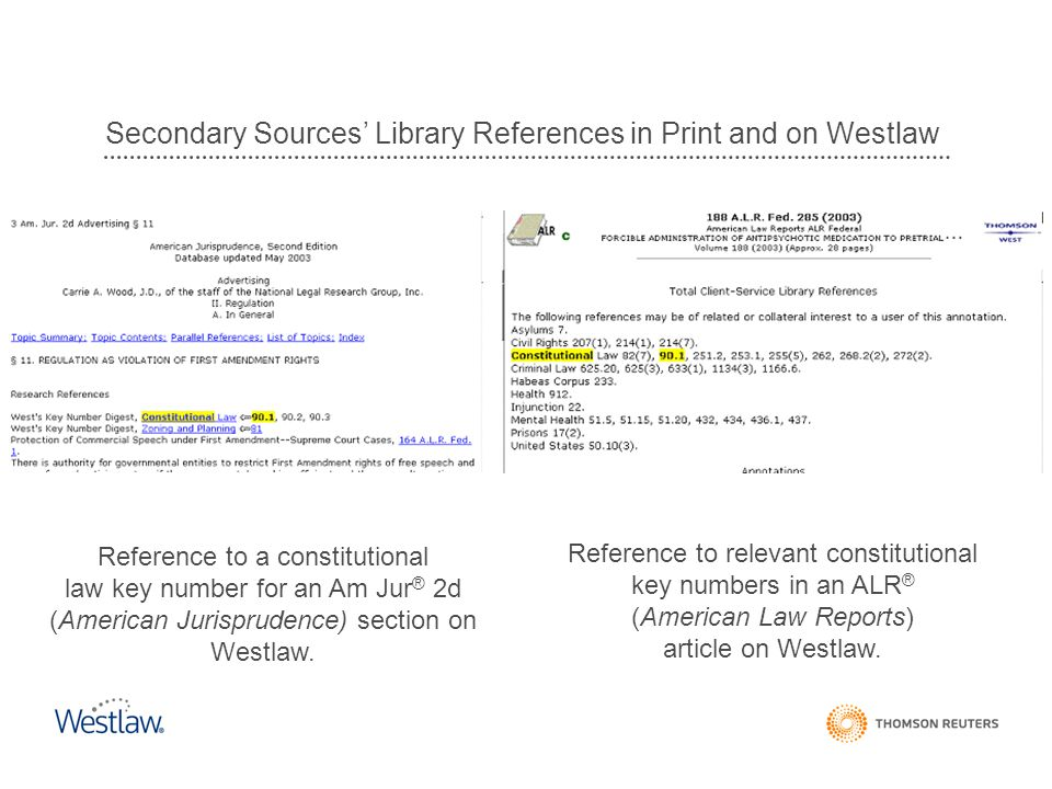 Secondary Sources' Library References in Print and on Westlaw Reference to a constitutional law key number for an Am Jur ® 2d (American Jurisprudence)
