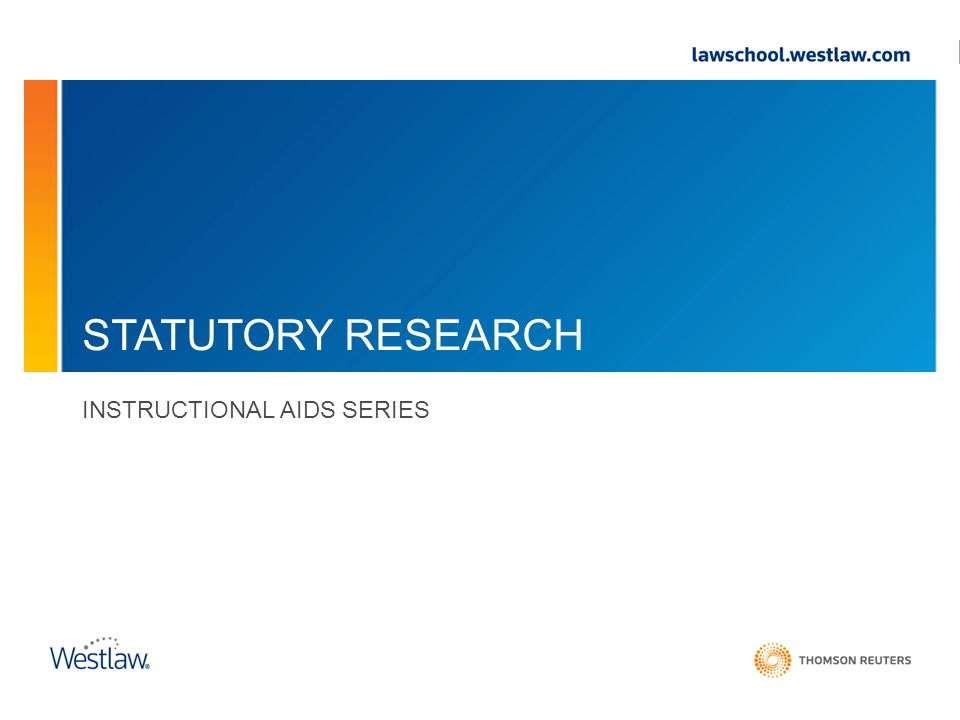 STATUTORY RESEARCH INSTRUCTIONAL AIDS SERIES