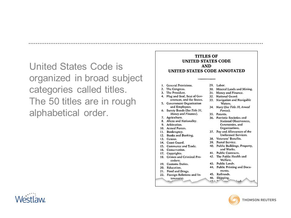 United States Code is organized in broad subject categories called titles.