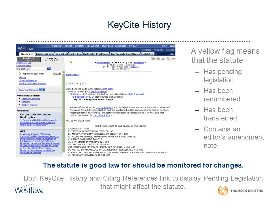 KeyCite History A yellow flag means that the statute –Has pending legislation –Has been renumbered –Has been transferred –Contains an editor's amendment note.