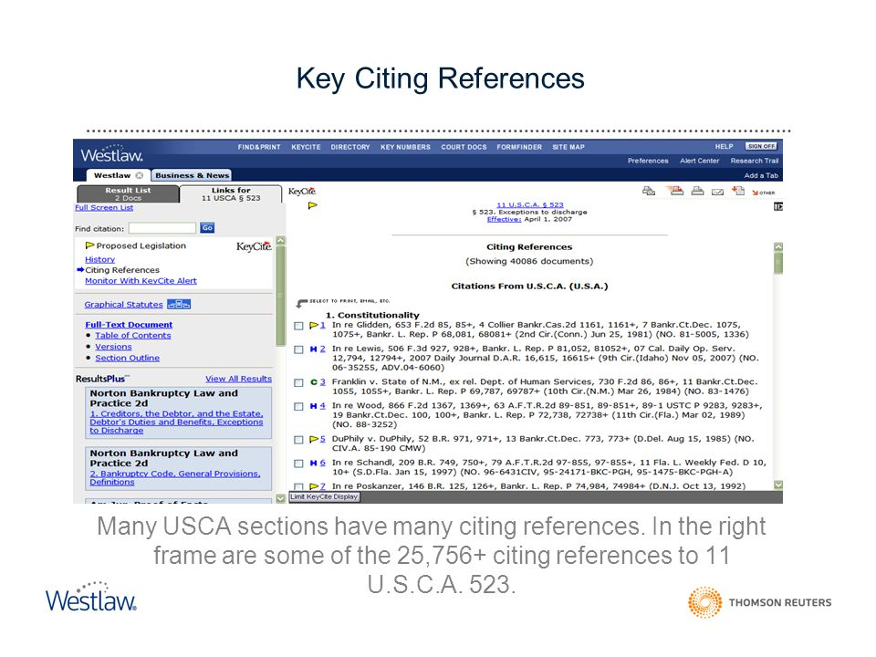 Key Citing References Many USCA sections have many citing references.