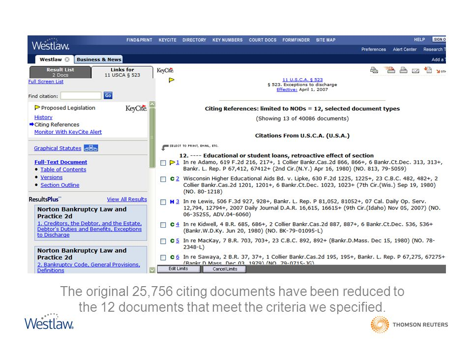 The original 25,756 citing documents have been reduced to the 12 documents that meet the criteria we specified.