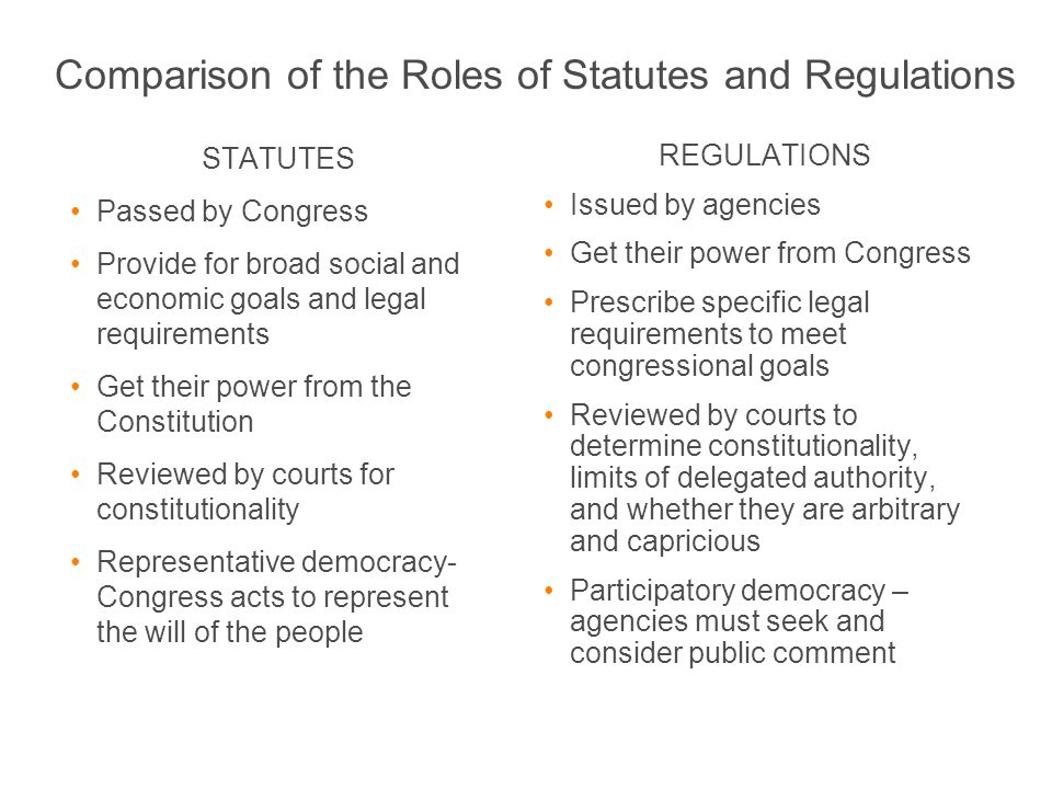 STATUTES Passed by Congress Provide for broad social and economic goals and legal requirements Get their power from the Constitution Reviewed by court