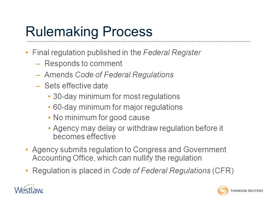 Rulemaking Process Final regulation published in the Federal Register –Responds to comment –Amends Code of Federal Regulations –Sets effective date 30
