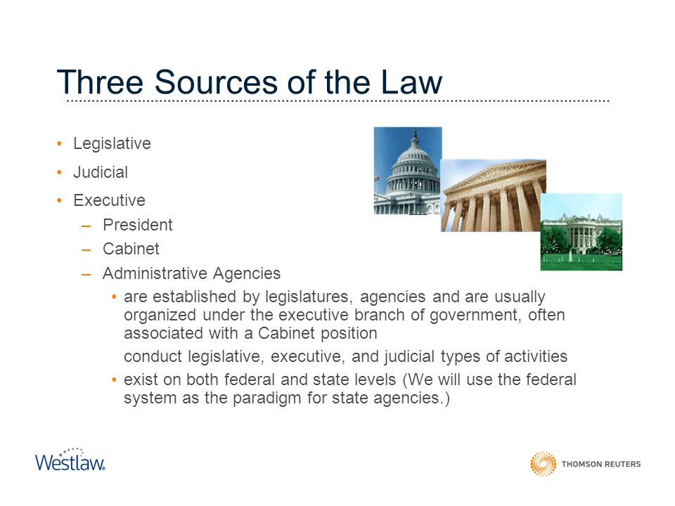 Three Sources of the Law Legislative Judicial Executive –President –Cabinet –Administrative Agencies are established by legislatures, agencies and are