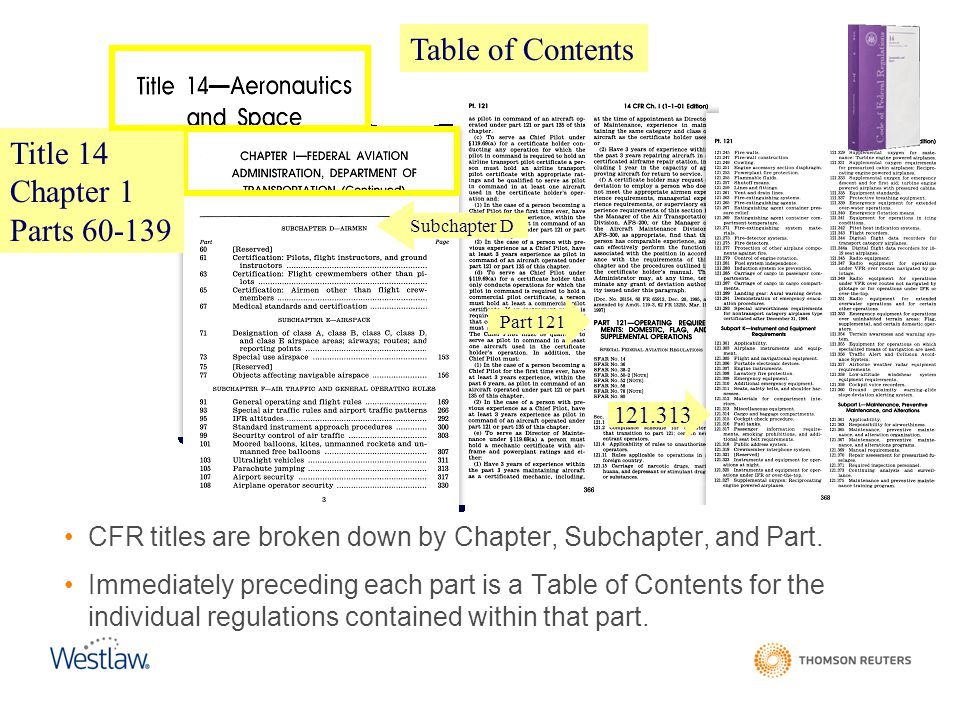 CFR titles are broken down by Chapter, Subchapter, and Part. Immediately preceding each part is a Table of Contents for the individual regulations con