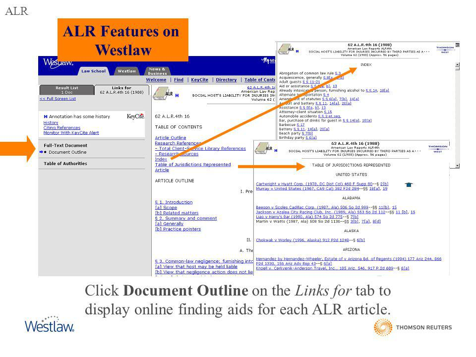 ALR Features on Westlaw Click Document Outline on the Links for tab to display online finding aids for each ALR article.