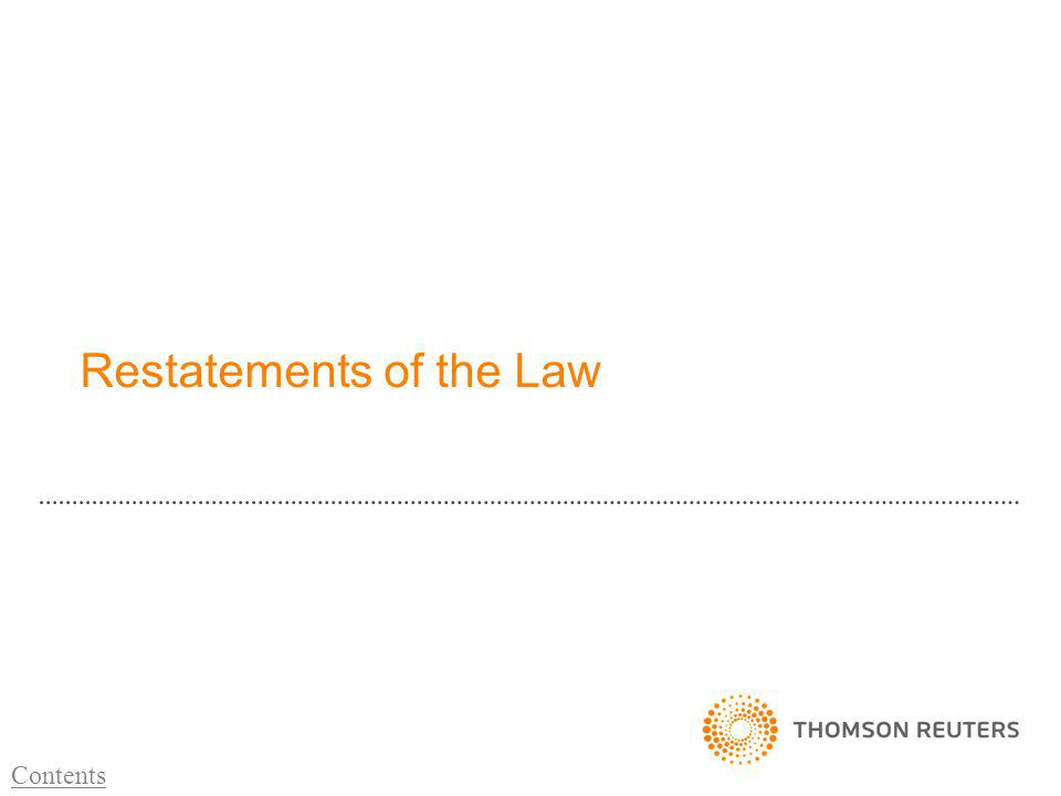 Restatements of the Law Contents