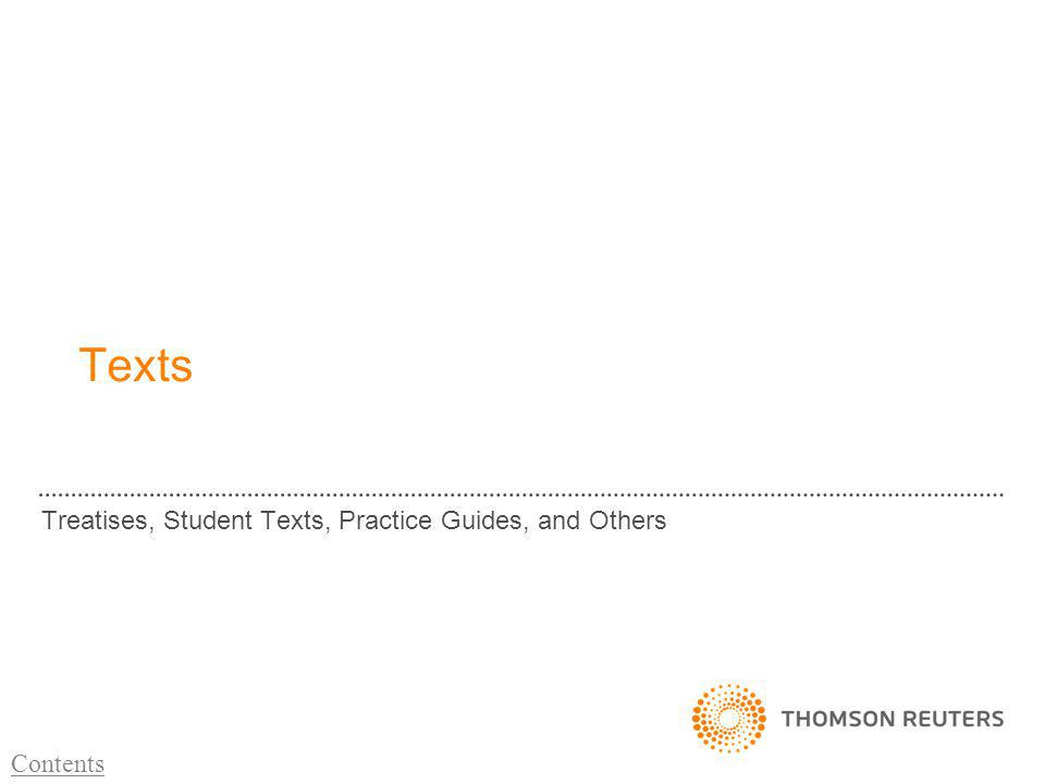Texts Treatises, Student Texts, Practice Guides, and Others Contents