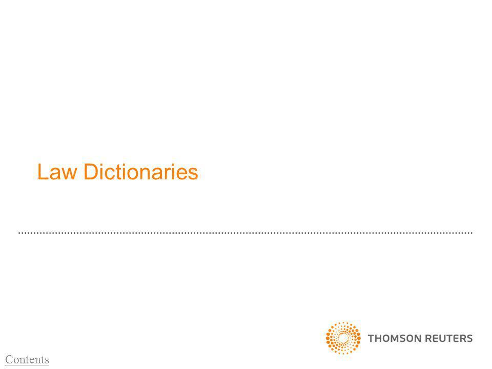 Law Dictionaries Contents