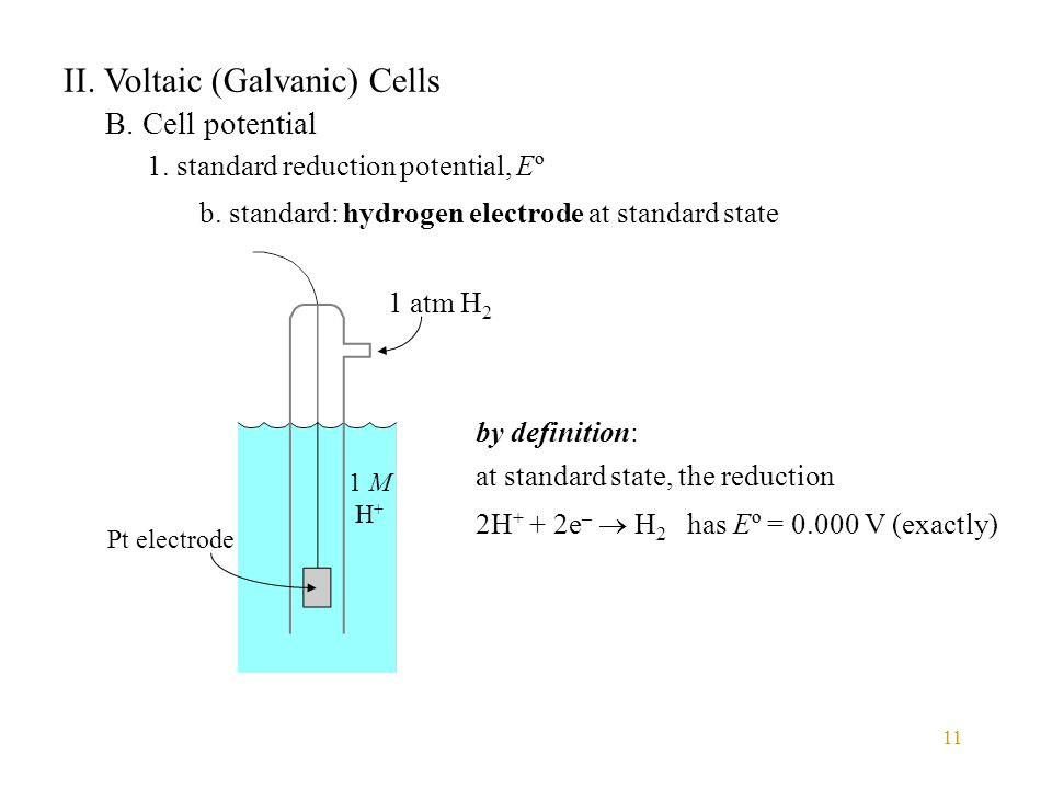 11 II. Voltaic (Galvanic) Cells B. Cell potential 1. standard reduction potential, Eº b. standard: hydrogen electrode at standard state 1 atm H 2 1 M
