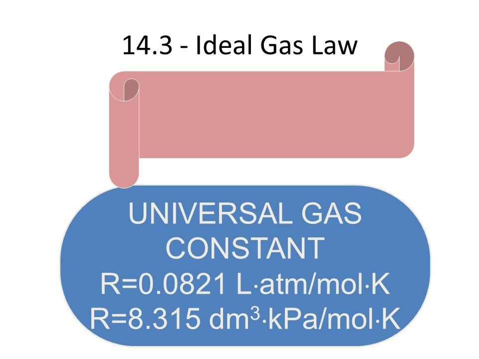 14.3 - Ideal Gas Law UNIVERSAL GAS CONSTANT R=0.0821 L  atm/mol  K R=8.315 dm 3  kPa/mol  K