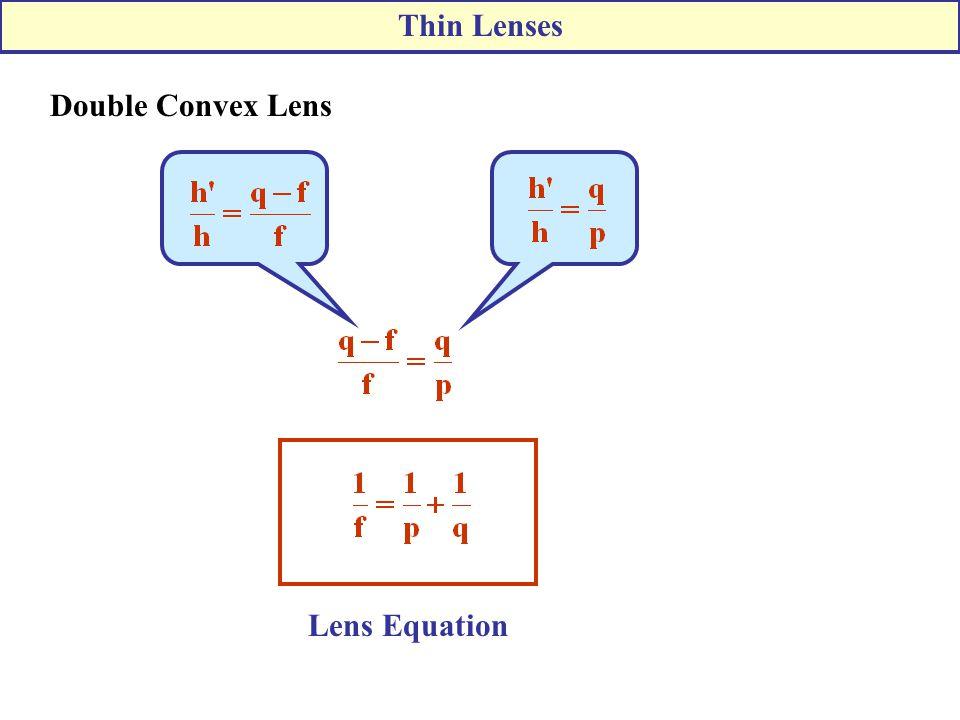 Lens Equation Double Convex Lens Thin Lenses