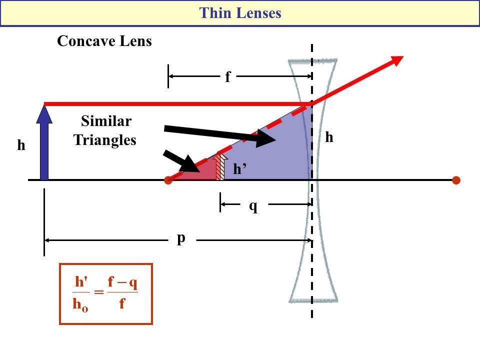 Concave Lens h Similar Triangles h h' p f q Thin Lenses