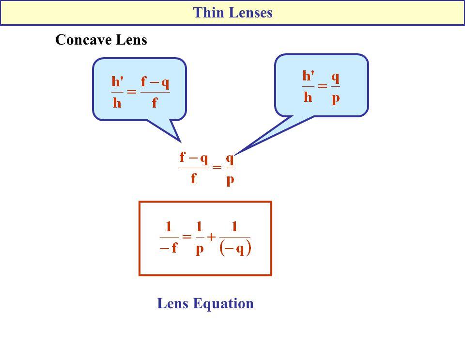 Concave Lens Lens Equation Thin Lenses