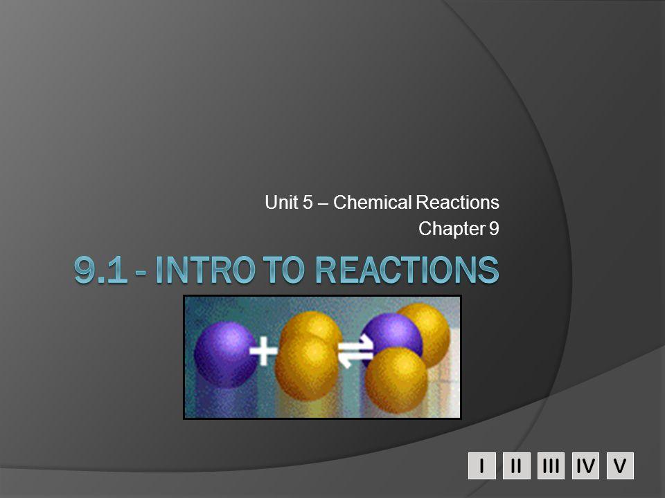 IIIIIIIVV Unit 5 – Chemical Reactions Chapter 9