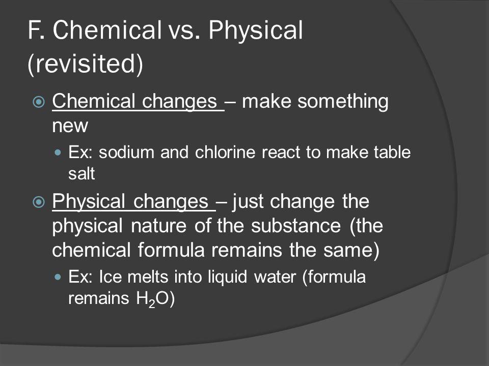 F.Chemical vs.