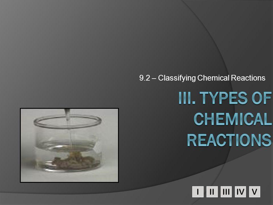 IIIIIIIVV 9.2 – Classifying Chemical Reactions