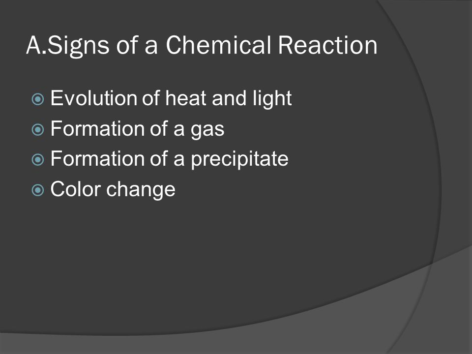 A.Signs of a Chemical Reaction  Evolution of heat and light  Formation of a gas  Formation of a precipitate  Color change