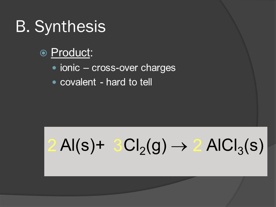 Al(s)+ Cl 2 (g)  AlCl 3 (s) 2 3 2 B.