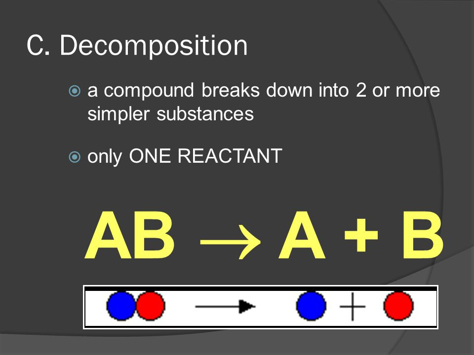 C. Decomposition  a compound breaks down into 2 or more simpler substances  only ONE REACTANT AB  A + B