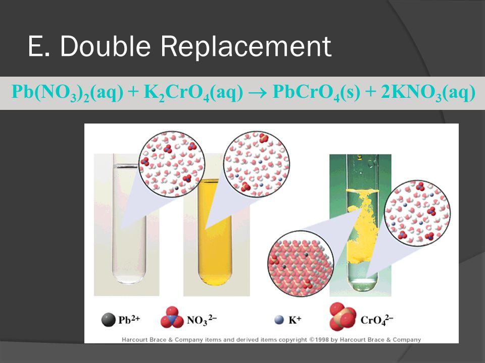 E. Double Replacement Pb(NO 3 ) 2 (aq) + K 2 CrO 4 (aq)  PbCrO 4 (s) + 2KNO 3 (aq)