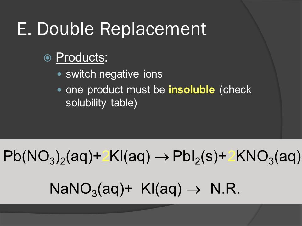 Pb(NO 3 ) 2 (aq)+ KI(aq)  PbI 2 (s)+ KNO 3 (aq) E. Double Replacement  Products: switch negative ions one product must be insoluble (check solubilit