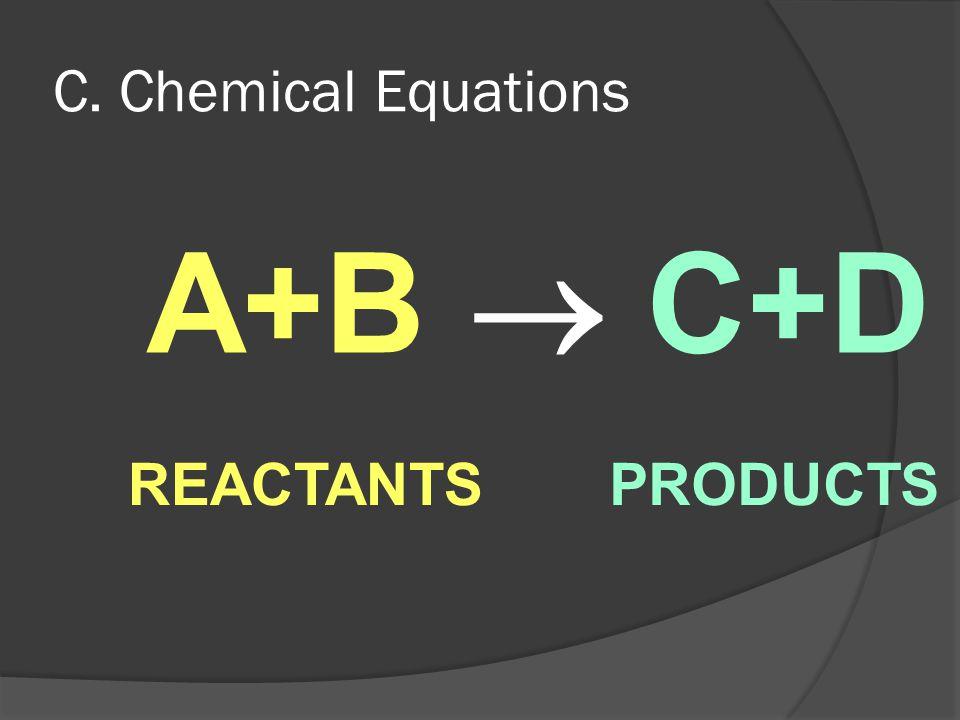 C. Chemical Equations A+B  C+D REACTANTSPRODUCTS