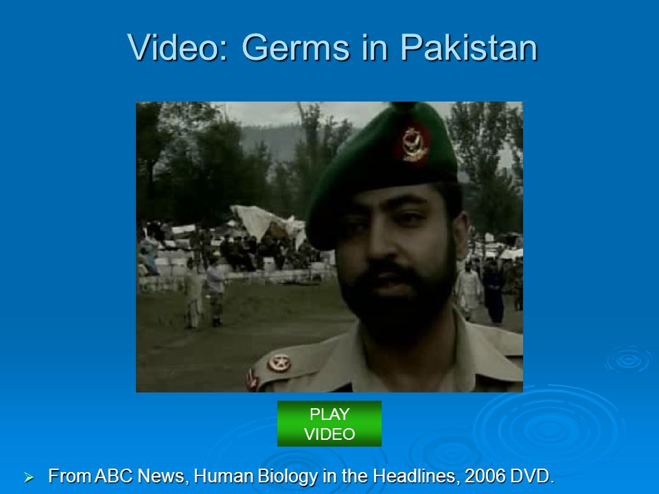 Video: Germs in Pakistan  From ABC News, Human Biology in the Headlines, 2006 DVD. PLAY VIDEO