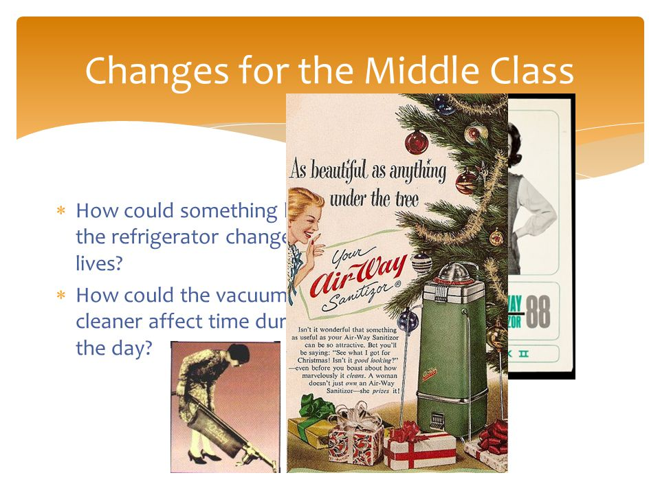 Changes for the Middle Class  How could something like the refrigerator change lives.