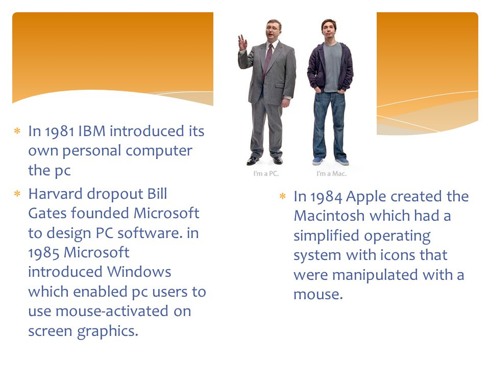  In 1981 IBM introduced its own personal computer the pc  Harvard dropout Bill Gates founded Microsoft to design PC software.