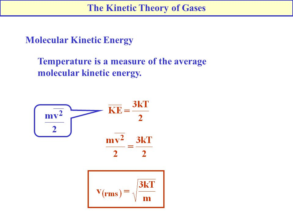Molecular Kinetic Energy Temperature is a measure of the average molecular kinetic energy. The Kinetic Theory of Gases