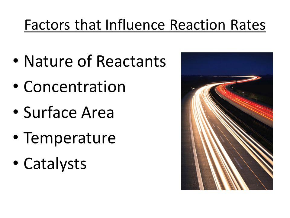 Factors that Influence Reaction Rates Nature of Reactants Concentration Surface Area Temperature Catalysts