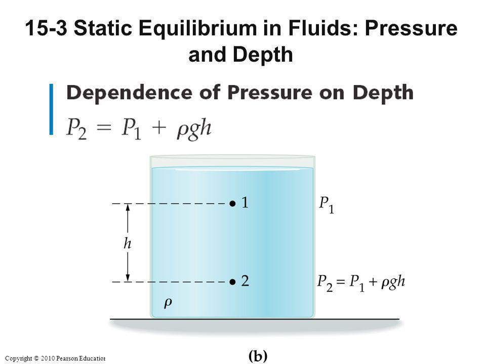 Copyright © 2010 Pearson Education, Inc. 15-3 Static Equilibrium in Fluids: Pressure and Depth