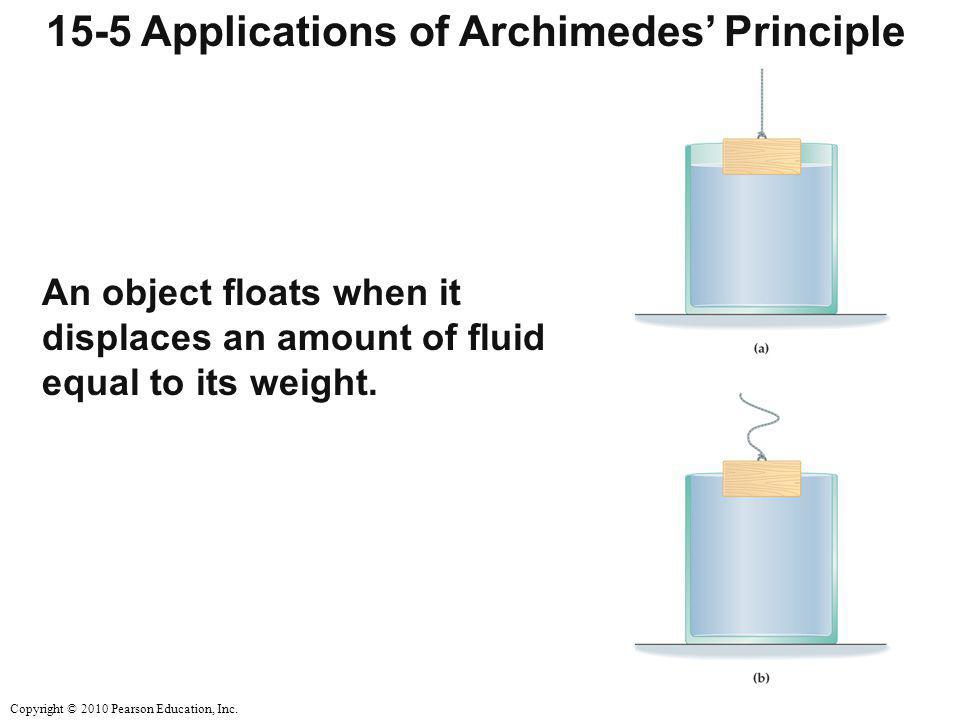 Copyright © 2010 Pearson Education, Inc. 15-5 Applications of Archimedes' Principle An object floats when it displaces an amount of fluid equal to its