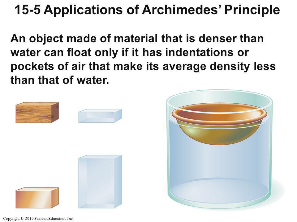 Copyright © 2010 Pearson Education, Inc. 15-5 Applications of Archimedes' Principle An object made of material that is denser than water can float onl