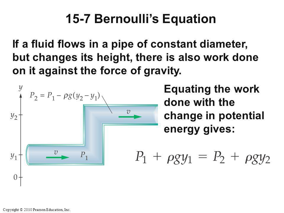 Copyright © 2010 Pearson Education, Inc. 15-7 Bernoulli's Equation If a fluid flows in a pipe of constant diameter, but changes its height, there is a