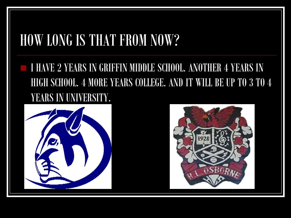 HOW LONG IS THAT FROM NOW? I HAVE 2 YEARS IN GRIFFIN MIDDLE SCHOOL. ANOTHER 4 YEARS IN HIGH SCHOOL. 4 MORE YEARS COLLEGE. AND IT WILL BE UP TO 3 TO 4