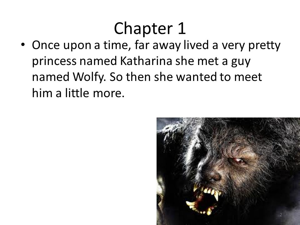 Chapter 1 Once upon a time, far away lived a very pretty princess named Katharina she met a guy named Wolfy.