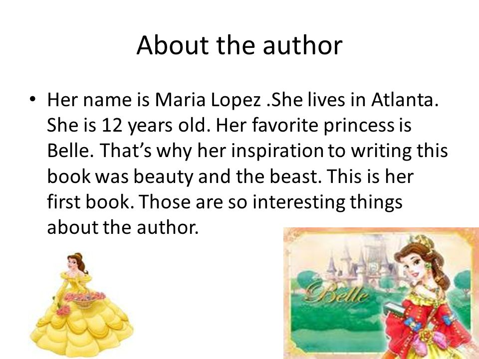 About the author Her name is Maria Lopez.She lives in Atlanta.