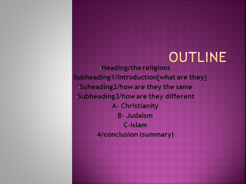 Heading/the religions Subheading1/introduction[what are they} Suheading2/how are they the same Subheading3/how are they different A- Christianity B- Judaism C-Islam 4/conclusion (summary)