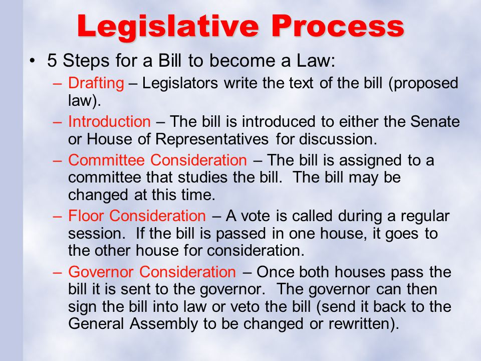 Legislative Process 5 Steps for a Bill to become a Law: –Drafting – Legislators write the text of the bill (proposed law). –Introduction – The bill is