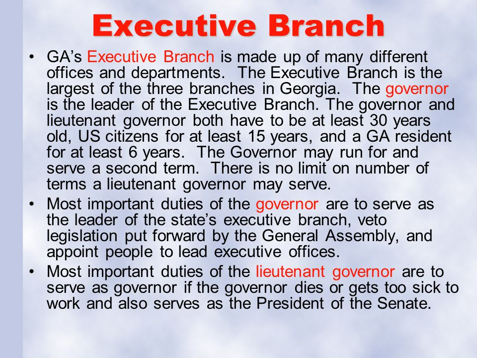 Executive Branch GA's Executive Branch is made up of many different offices and departments. The Executive Branch is the largest of the three branches