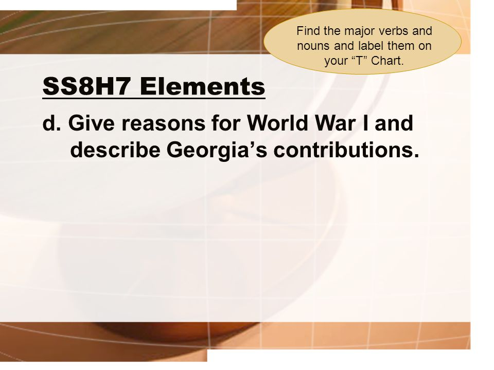 SS8H7 Elements d.Give reasons for World War I and describe Georgia's contributions.
