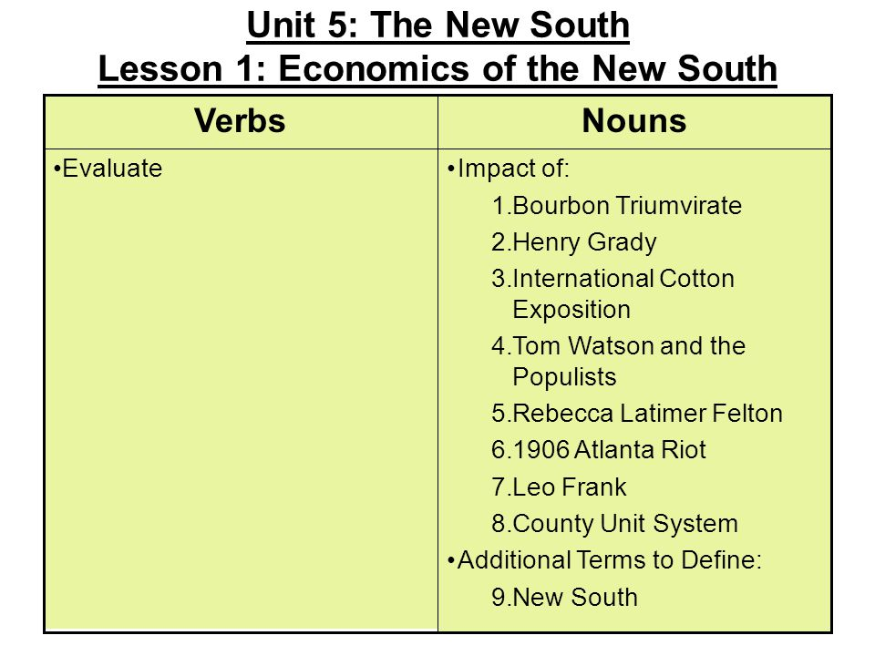 Unit 5: The New South Lesson 1: Economics of the New South Impact of: 1.Bourbon Triumvirate 2.Henry Grady 3.International Cotton Exposition 4.Tom Watson and the Populists 5.Rebecca Latimer Felton 6.1906 Atlanta Riot 7.Leo Frank 8.County Unit System Additional Terms to Define: 9.New South Evaluate NounsVerbs