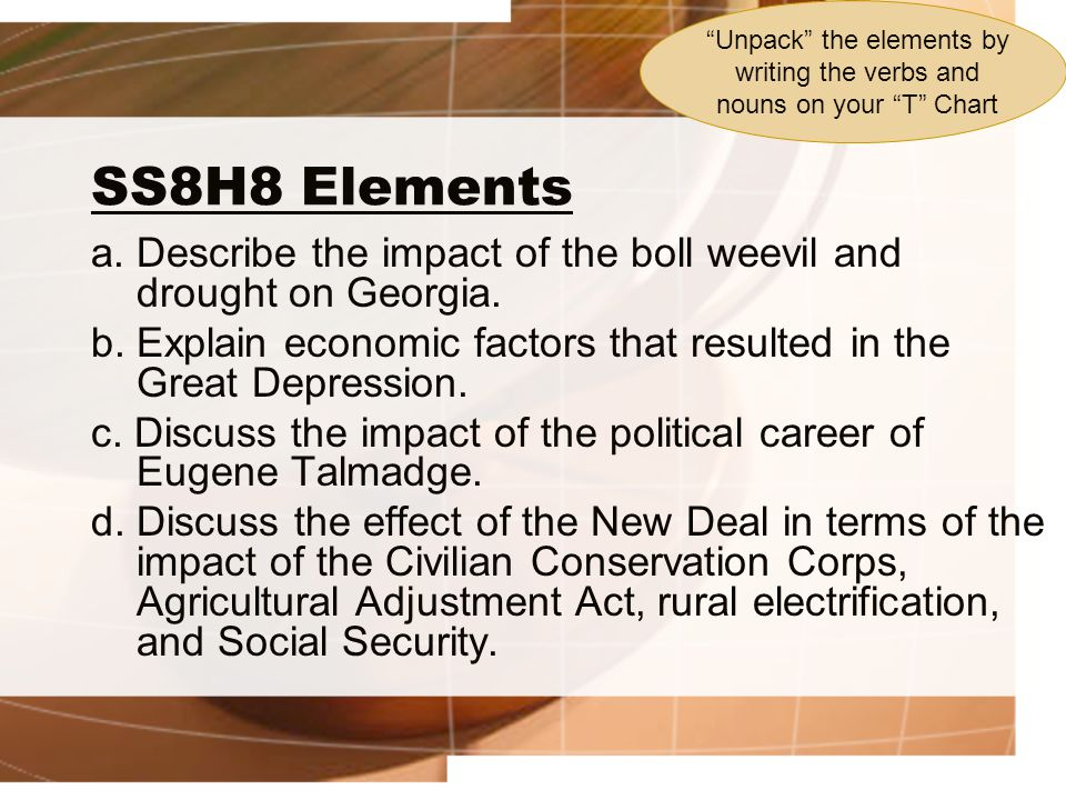 SS8H8 Elements a.Describe the impact of the boll weevil and drought on Georgia.